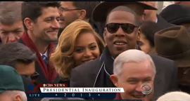 Beyonce, husband Jay-Z and...Paul Ryan (red scarf)?